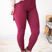 My Generation Burgundy Moto Leggings