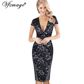 Vfemage Womens Sexy Deep V Elegant Floral Lace Stripe Mesh Work Party Evening Mother of Bride Casual Vintage Bodycon Dress 4449