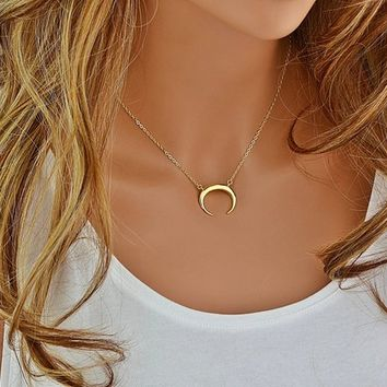 Upside Down Moon Necklace, Gold Moon Necklace, Moon Necklace Gold, Crescent Moon, Layering Necklace, Moon Jewelry, Crescent Necklace Long