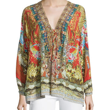 Camilla Embellished Lace-Up Shirt, Cameos Dance