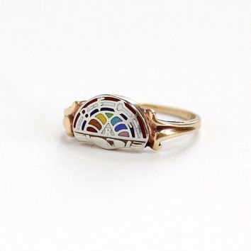 Vintage 10K Yellow & White Gold International Order of the Rainbow for Girls Ring - Size 5 1/2 Masonic Enamel BFCL Fine Jewelry
