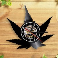CannaClocks - Hanging Wall Pot Leaf Clock