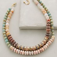 Layered Beadwork Necklace by Anthropologie Pink One Size Necklaces
