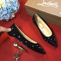Best Online Sale Christian Louboutin CL Follies Strass Flat - Black