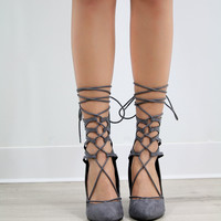 Mama Mia Pointed Toe Lace Up Cutout Gray Lattice Pump