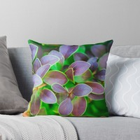 'Vibrant green and purple leaves' Throw Pillow by PLdesign