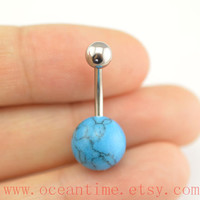 turquoise Belly Button Rings, turquoise stone belly button jewelry,blue Navel Jewelry,friendship bellyring,oceantime