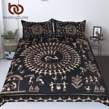BeddingOutlet Ancient Civilization Bedding Set Golden and Black Duvet Cover Set for Adults 3-Piece Vintage Home Textiles King