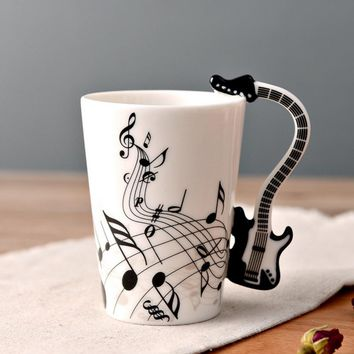 Ceramic Cup Personality Milk Juice Lemon Musical Instrument Shaped Handle Mug Coffee Tea Cup Home Office Drinkware Supplies