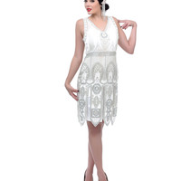 """The Frannie"" White & Silver Deco Flapper Dress"
