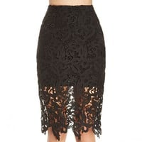 Cutwork Lace Pencil Skirt