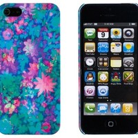 Pastel Flower Embossed Slim Fit Hard Case for Apple iPhone 5S / 5 (AT&T, Verizon, Sprint, International) - Includes DandyCase Keychain Screen Cleaner [Retail Packaging by DandyCase]