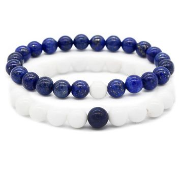 Couple Jewelry  8mm Blue White Beads Bracelet His and Hers Braceles for Lovers Distance Jewelry MBR180005