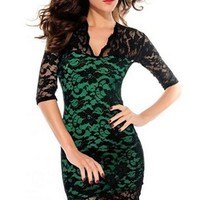 Ladies Women's Lace V-neck Short Long Sleeve Mini Dresses Clubwear