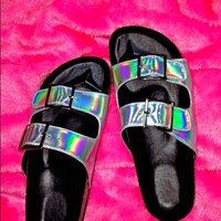 SWEET LORD O'MIGHTY! HOLOGRAM 2-STRAP SANDALS