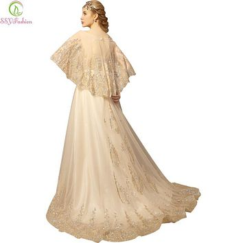 SSYFashion Luxury Gold Lace Embroidery Beading Long Evening Dress Banquet with Shawl Party Prom Dresses Custom Robe De Soiree
