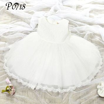 High Quality Baby Girl Baptism Dress For Girl Infant 2017 Summer Little Girls Red Pink Skyblue White Purple Birthday Party Dress
