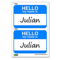 Julian Hello My Name Is - Sheet of 2 Stickers