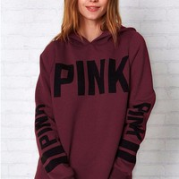 Wine Red Fashion Women Cute Long Sleeve Casual Sweatshirt Knitted printing Pullovers Tops