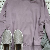 Watch Distressed Pullover, Dusty Rose
