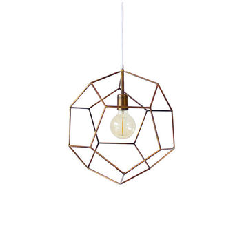 Polyhedron Geometric Pendant Light Hanging Light Handmade Minimalist Lamp Modern Chandelier Lighting Gold Bronze Globe Pendant Light