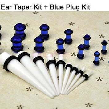 23 Pc Ear Taper+ Plug Kit 14G-00G 1.6Mm-10Mm Gauges Expander Set Stretchers Body Jewelry  9188|27701 = 5613050305