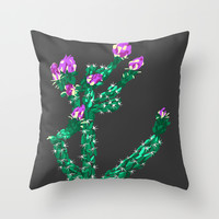 Flowering Cactus Throw Pillow by K_c_s