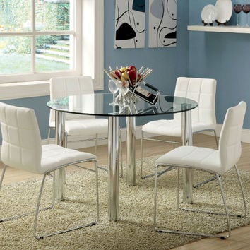 "Furniture of america CM8320T-WH 5 pc kona 45"" round glass dining table set with chrome legs"
