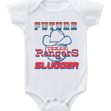 New Cute Funny Baby One Piece Bodysuit Baseball Future Slugger MLB Texas Rangers Classic