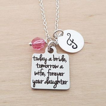Today A Bride Necklace - Daughter Mother Personalized Initial Necklace
