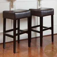 Christopher Knight Home Lopez Brown Leather Backless Bar Stools (Set of 2)