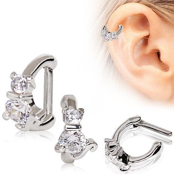 316L Stainless Steel Jeweled Cat WildKlass Cartilage Clicker Earring