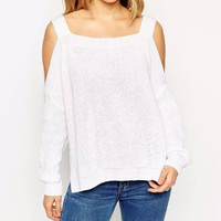 Shoulder Cutout Cuff Sleeve Knit Sweater