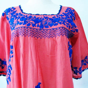 Embroidered Mexican Blouse 3/4 Sleeve Cotton Top In by chokethai