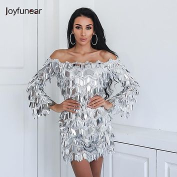 Joyfunear 2018 Amazing Luxury Summer Dress 5 Colors Beautiful Sequin Club Party Queen Sexy Dresses Off The Shoulder Playsuits
