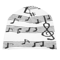 Women Skiing Black Music Note Print Ribbed Knit Beanie Cap Hat