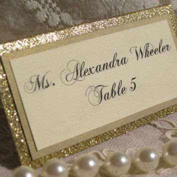 Gold Glitter Tented Place Cards Set of 50 Name Cards Escort Cards Wedding Anniversary Bridal Shower Party Customized Name Color 045