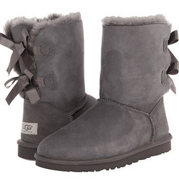 shosouvenir  : UGG Fashion Women Bow Flats Leather Boots In Tube Boots Shoes