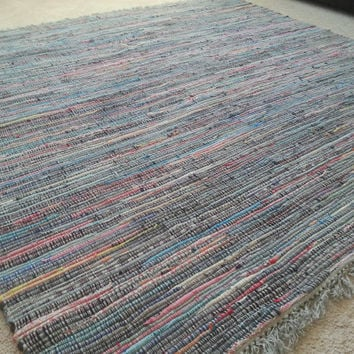 Large Rag Rug, 6' by 6' Multi Color Cotton Chindi, Bright Colored Area Rug, Square Woven Rugs, Scandinavian Style Loom Rug, Hippie Boho Chic
