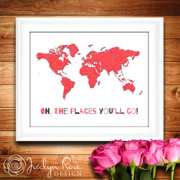 Printable wall art decor: Oh the places you'll go - World map - Pink and gray damask - Girls Room art (Instant digital download - JPG)