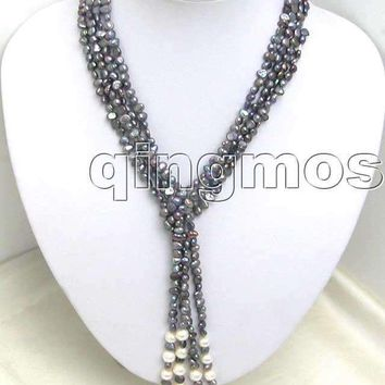 SALE! Natural Supper 45 inch 3 Strands 5-6mm Gray / black Baroque natural Pearl Necklace -nec5189 Wholesale/retail Free shipping