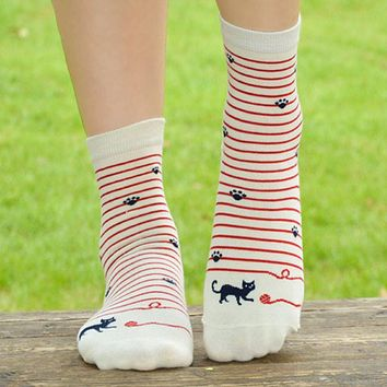 [COSPLACOOL] High Quality Cat Footprints 4Colors Striped Cartoon sock Women Cotton Floor length sock for Lady girls