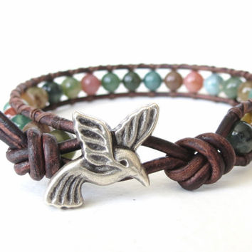 Hummingbird wrap bracelet gift idea for best by MirasBeadBoutique