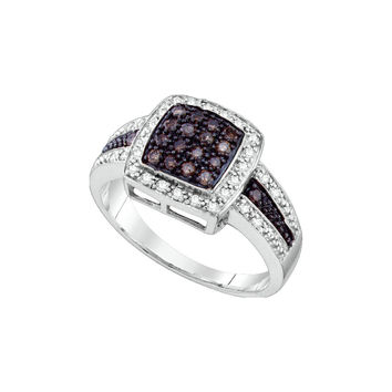 14k White Gold Cognac-brown Colored Diamond Womens Cluster Square-shape Cocktail Ring 1/2 Cttw 65354