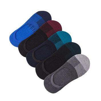 5 Pairs/lot Men Socks Summer Invisible Enlarge Code Male Boat Sock Cotton Stretchy Silica Gel Non-slip Shallow Mouth Socks Meias