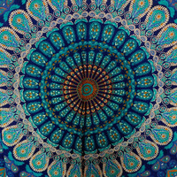 Tapestry Wall Hanging, Mandala Tapestries, Indian Cotton Bedspread, Blue Color Theme, Picnic Blanket, Wall Art, Hippie Tapestry