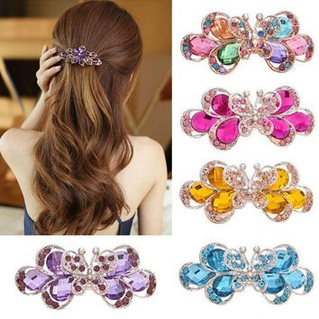 PEAPGC3 Retro Vintage Women Ladies Girls Crystal Butterfly Flower Hairpins Hair Clips the cheapest products hair accessories