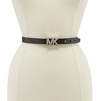 Michael Kors Croc-Embossed MK Plaque Belt