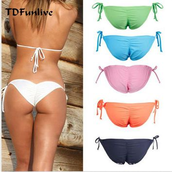 TDFunlive Women Swimwear Bikini Bottoms Bow Bottom Brazilian Cheeky Bottom Swimsuit Biquini Bikinis 5 Color