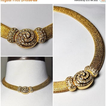 ON SALE Vintage CHRISTIAN Dior Gold Mesh & Pave Rhinestone Swirl Focal Necklace, Thick, Wide, Choker, Snap Close, Simply Sublime!! #a602